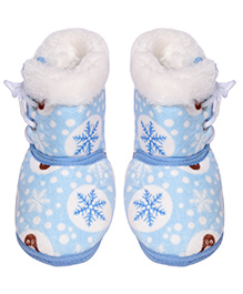 Miss Diva Smart Printed Ultra Soft High Boots - Sky Blue