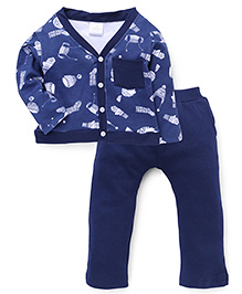 Chic Bambino Cap & Gloves Print Tee & Pant Set - Navy Blue