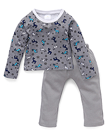 Chic Bambino Reindeer Print Top & Pant Set - Grey