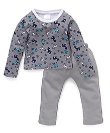 Chic Bambino Reindeer Print Top & Pant Set - Grey