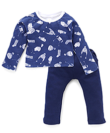 Chic Bambino Caps & Gloves Print Top & Pant Set - White & Blue