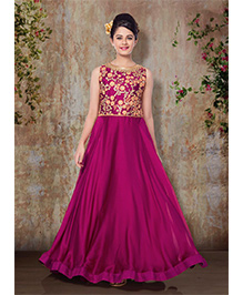 Peek A Boo Evening Gown With Flower Work - Magenta
