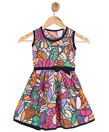 Kids On Board Sleeveless Floral Print Dress - Multicolor