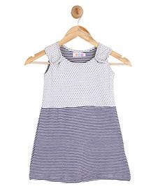 Kids On Board Sleeveless Dress - White & Blue