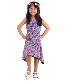 Kids On Board Assymetrical Dress - Purple