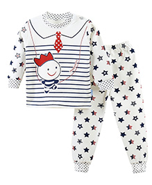 Aww Hunnie Star & Collar Tie Applique Top & Pant Set - White