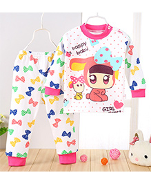 Aww Hunnie Bow Printed Top & Pant Set - Pink