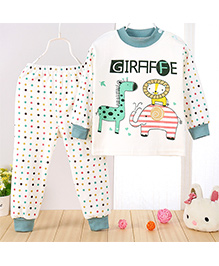 Aww Hunnie Giraffe Print Top & Pant Set - Blue