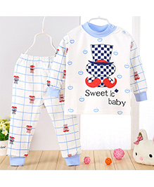 Aww Hunnie Apple Design Top & Pant Set - Blue