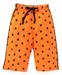 Taeko Three Fourth Printed Pants With Drawstring - Orange