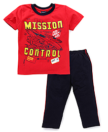 Taeko Half Sleeves T-Shirt And Pajama Mission Control Print - Red Navy