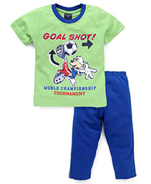 Taeko Half Sleeves T-Shirt And Pajama Goal Shot Print - Green Royal Blue