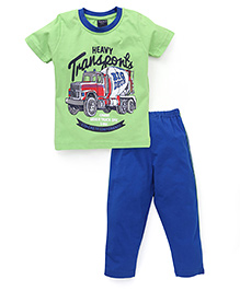 Taeko Half Sleeves T-Shirt And Pajama Truck Print - Green Royal Blue