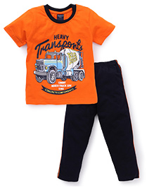 Taeko Half Sleeves T-Shirt And Pajama Truck Print - Orange Navy Blue