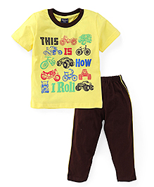 Taeko Half Sleeves Printed T-Shirt And Pajama Set - Yellow Brown