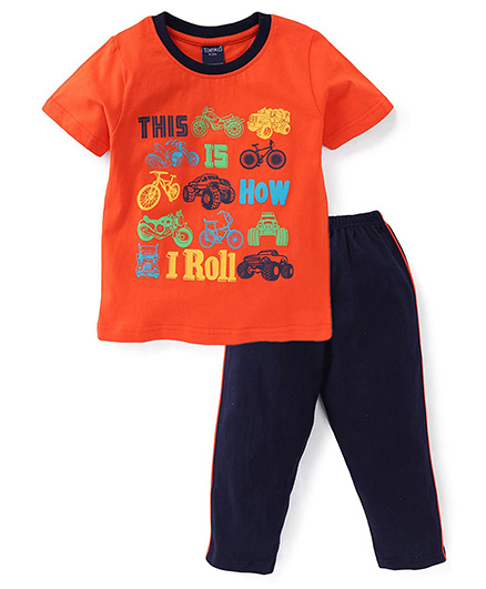 Taeko Half Sleeves Printed T-Shirt And Pajama Set - Orange Navy