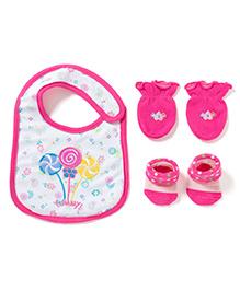 Little Hip Boutique Bib Mittens & Booties Set - Pink