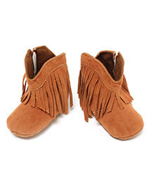 Little Hip Boutique Tan Fringe Warm Boots - Tan