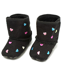 Little Hip Boutique Hearts On Warm Boots - Black