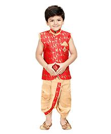 Shree Shubh Ethnic Dhoti Kurta Set - Red