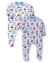 Kidi Wav Animal Printed Pack Of 2 Sleepsuits - Sky Blue