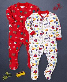 Kidi Wav Animal Kingdom & Christmas Printed Pack Of 2 Sleepsuits - Red & White