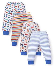 Kidi Wav Stripes Sports & Car Print Pack Of 4 Pajamas - Blue & Multicolour