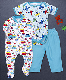 Kidi Wav Boat Print Romper Onesie & Pajama Set - Turquoise