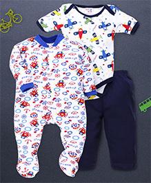 Kidi Wav Pirates Print Romper Onesie Pajama - White & Blue