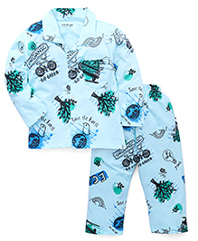 Doreme Full Sleeves Night Suit Go Green Print - Blue