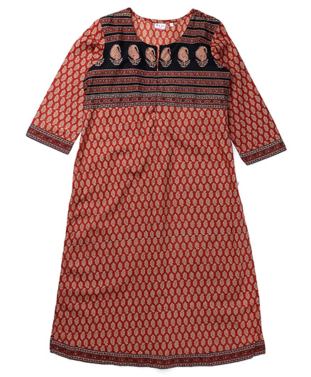 Kriti Three Fourth Sleeves Maternity Kurta - Maroon