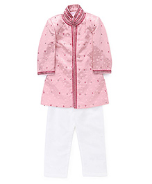 Robo Fry Full Sleeves Jacket And Pajama - Pink White
