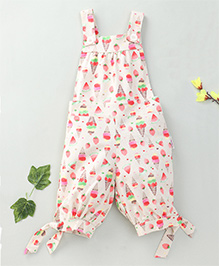 Little Fairy Ice Cream Print Dungaree With Pink Buttons - Cream