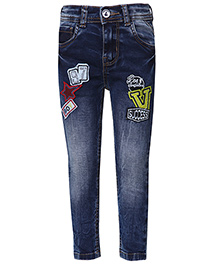 Tales & Stories Full Length Jeans With Patch Work - Dark Blue