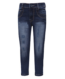 Tales & Stories Full Length Jeans With Ripped Pattern - Dark Blue