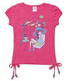 Tango Half Sleeves Tee Printed - Pink