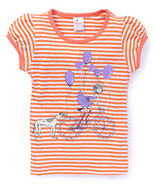 Tango Half Sleeves Top Puppy And Balloon Print - Orange