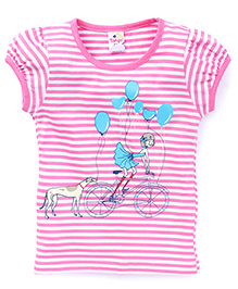 Tango Half Sleeves Top Puppy And Balloon Print - Pink