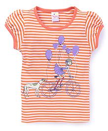 Tango Half Sleeves Top Puppy And Balloon Print - Orange