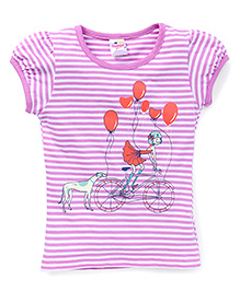 Tango Half Sleeves Top Puppy And Balloon Print - Purple