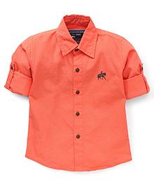 Jash Kids Full Sleeves Solid Color Shirt - Dark Peach