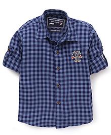 Jash Kids Full Sleeves Shirt Checks Pattern - Navy Blue