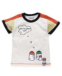 Kiddy Mall Salt & Pepper Shaker Applique T-Shirt - Orange & Cream
