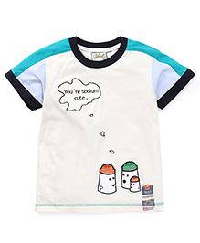 Kiddy Mall Salt & Pepper Shaker Applique T-Shirt - Sea Green & Cream