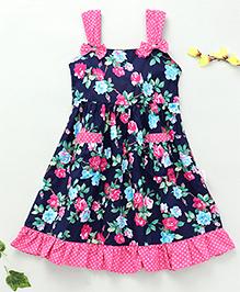 Little Fairy Rose Flower Print Dress - Navy Blue