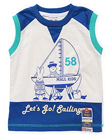Kiddy Mall Lets Go Sailing Print Sleeveless T-Shirt - Blue & Black