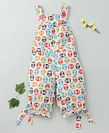 Little Fairy Owl Print Jumpsuit - Cream