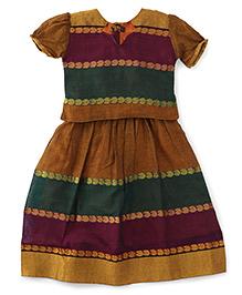 Bhartiya Paridhan Puff Sleeves Pavadai Set With Embroidery - Purple And Brown