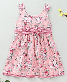 Little Fairy Floral Print Sleeveless Dress - Peach