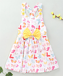 Little Fairy Butterfly Print Dress With Bow - White